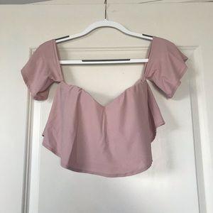 Pink flowy sleeve crop top